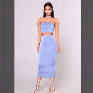 Fashion Nova Denim Colored Bodycon 2 Piece